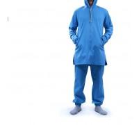 Костюм мужской из льна с капюшоном синий