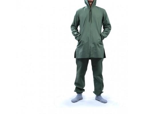 Костюм мужской из льна с капюшоном зеленый